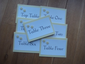 Wedding table numbers cards with flowers