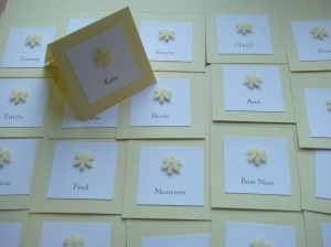 wedding guest name card in yellow lemon with flowers