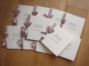 Bow Wedding Invitation in Taupe
