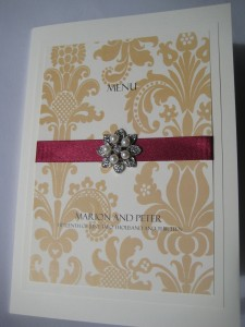 Damask Print Vintage wedding menu