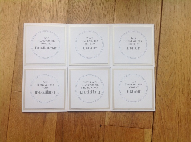 wedding thank you cards for bridal party in ivory. personalised