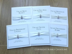 wedding thank you cards for bridesmaid, usher and best man in ivory with diamante, crystal buckle
