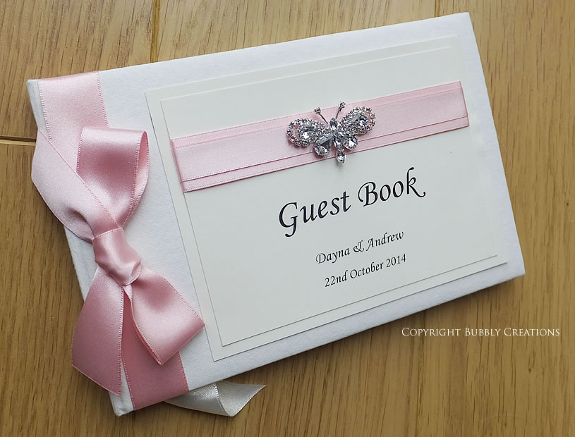 diamante crystal butterfly wedding guest book in pink