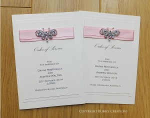 Crystal diamante butterfly wedding order of service