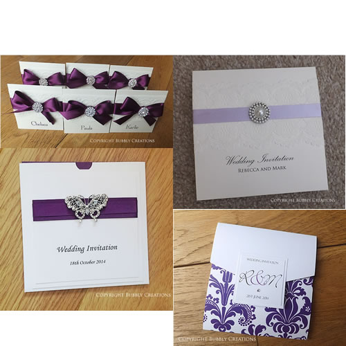 purple, lilac, plum, aubergine wedding invitations and stationery