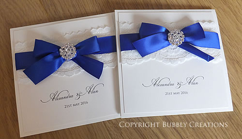 royal blue wedding invites invitations with lace and diamante crystal embellishment