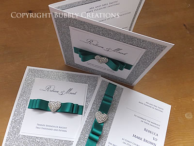 Luxury, Glitter Sparkle Wedding Invitations in Jade Green