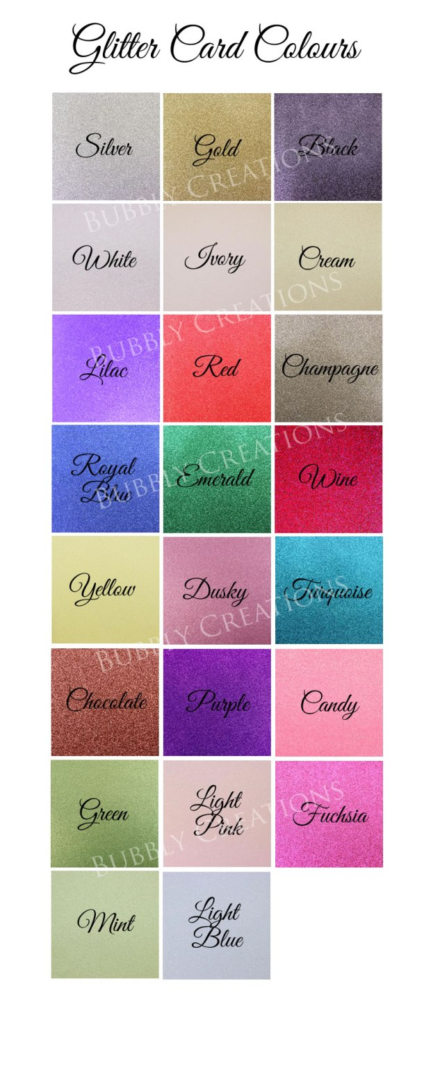 Glitter Card Colours for Wedding Invitations