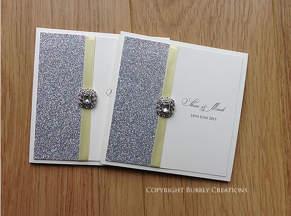 silver glitter wedding invitation in lemon. Luxury, handmade pocket invite