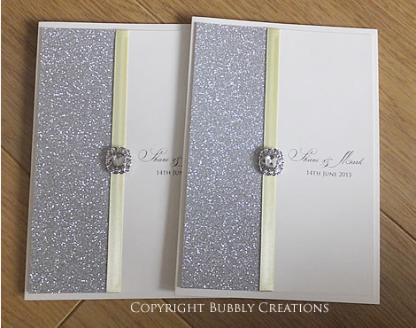 wedding menus in silver glitter and lemon. Sparkly wedding stationery