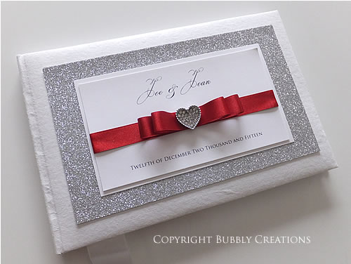 Glitter Wedding Guest Book in Red