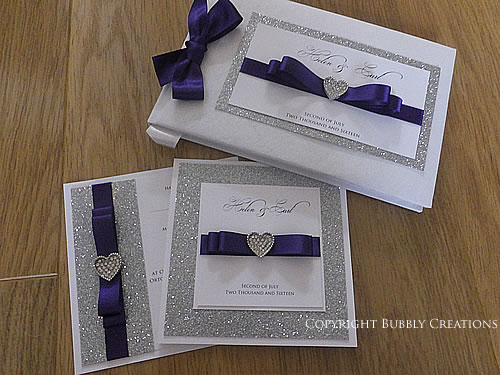 Luxury Silver Glitter Wedding Invitations and Guest Book in Purple
