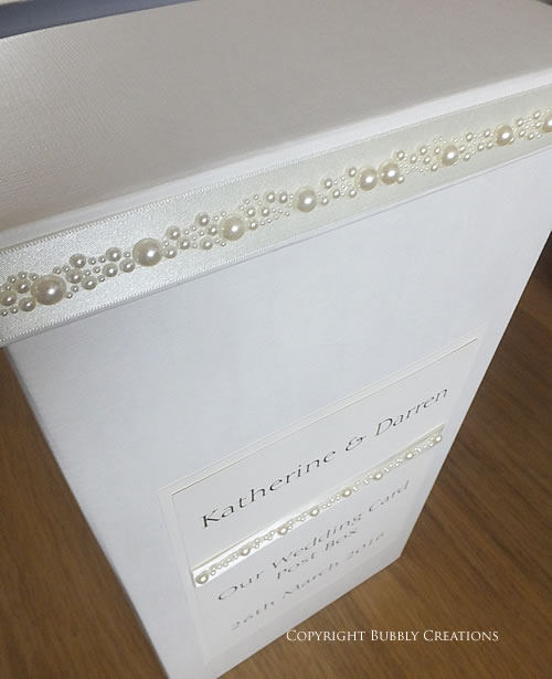 wedding card post box with pearls in ivory cream
