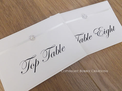ivory, pearl wedding table number cards